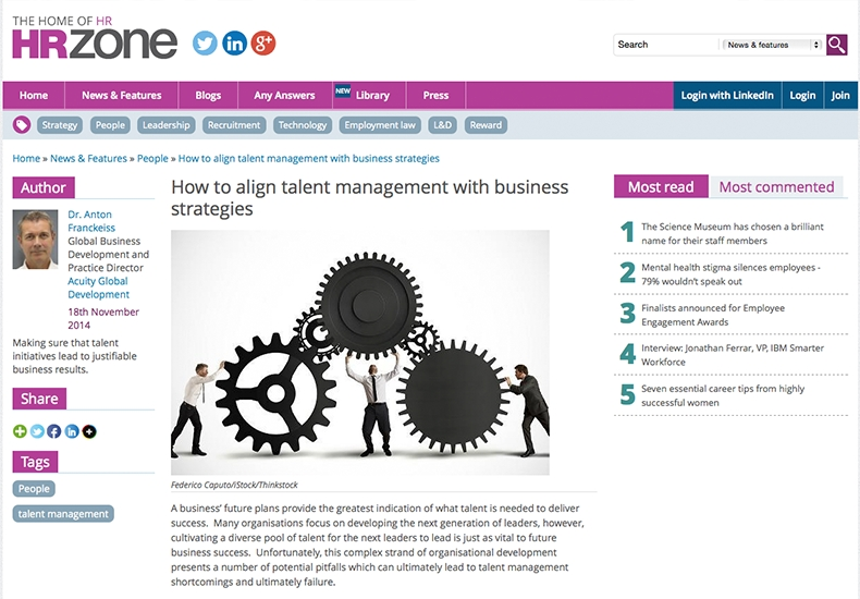 Media: HR Zone - How to align talent management with business strategies