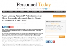 Media: Personnel Today - Acuity Coaching Appoints Dr Anton Franckeiss to Lead Growth of AGD Brand